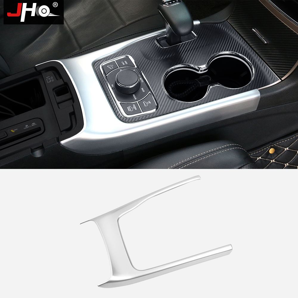 JHO Gear Shift Box Panel Carbon Fiber Cover Trim Frame Fit For Jeep Grand Cherokee 2014 2015 2016 2017 Car Styling Accessories carbon fiber grain abs gears shift panel trim cover frame decor sticker for chevrolet camaro 2017 car styling