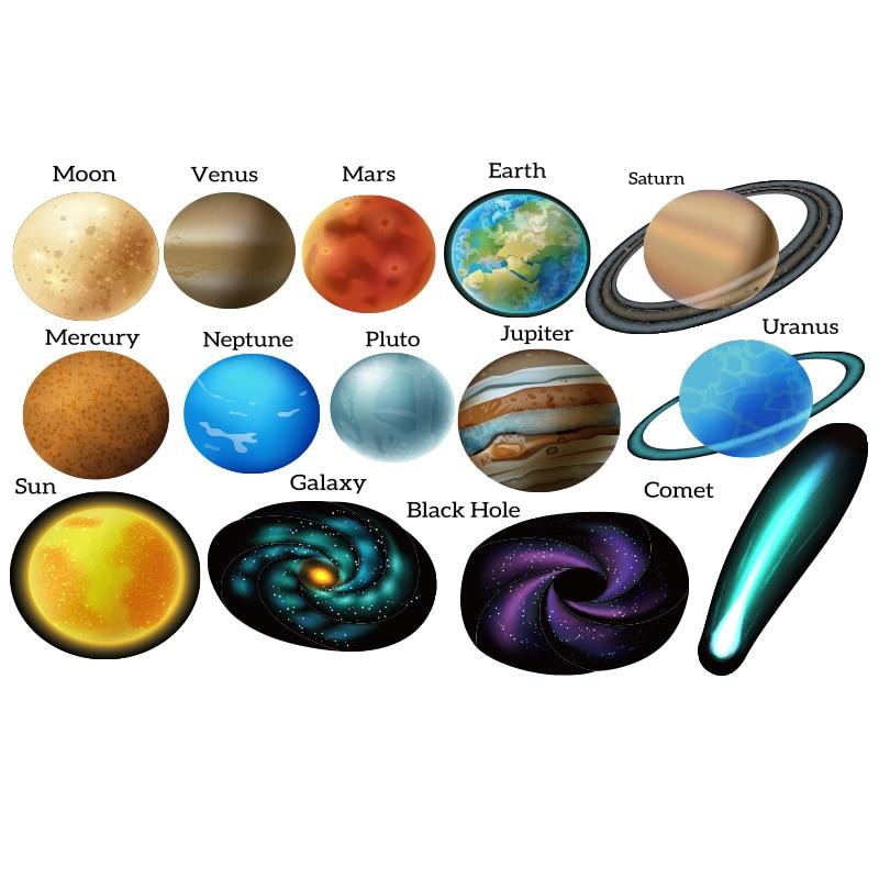 Black Hole Space Adventures Solar System Felt Board Set Planets Earth Print Fabric Kid Toys send Loop Hook adhesive sticker