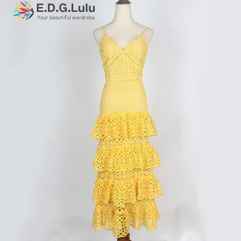 EDGLulu ruffle <font><b>dress</b></font> elegant casual runway fashion summer 2019 midi overall <font><b>dress</b></font> women suspenders v neck yellow lace <font><b>dress</b></font> image