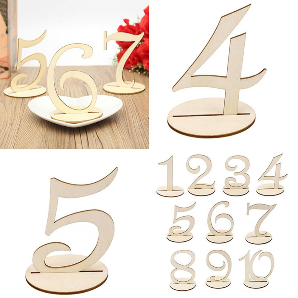 10pcslot 120 wooden tables numbers wedding seat cards or birthday party decoration