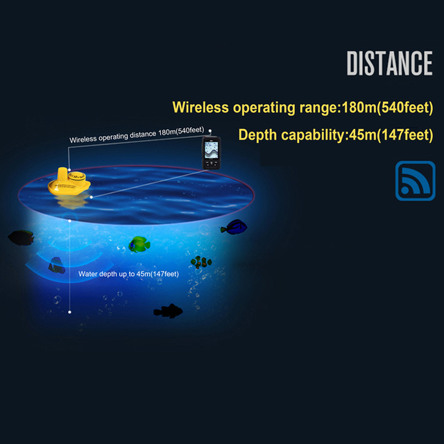LUCKY FF718Li-W Portable Fish Finder Wireless 180m 90 Degree