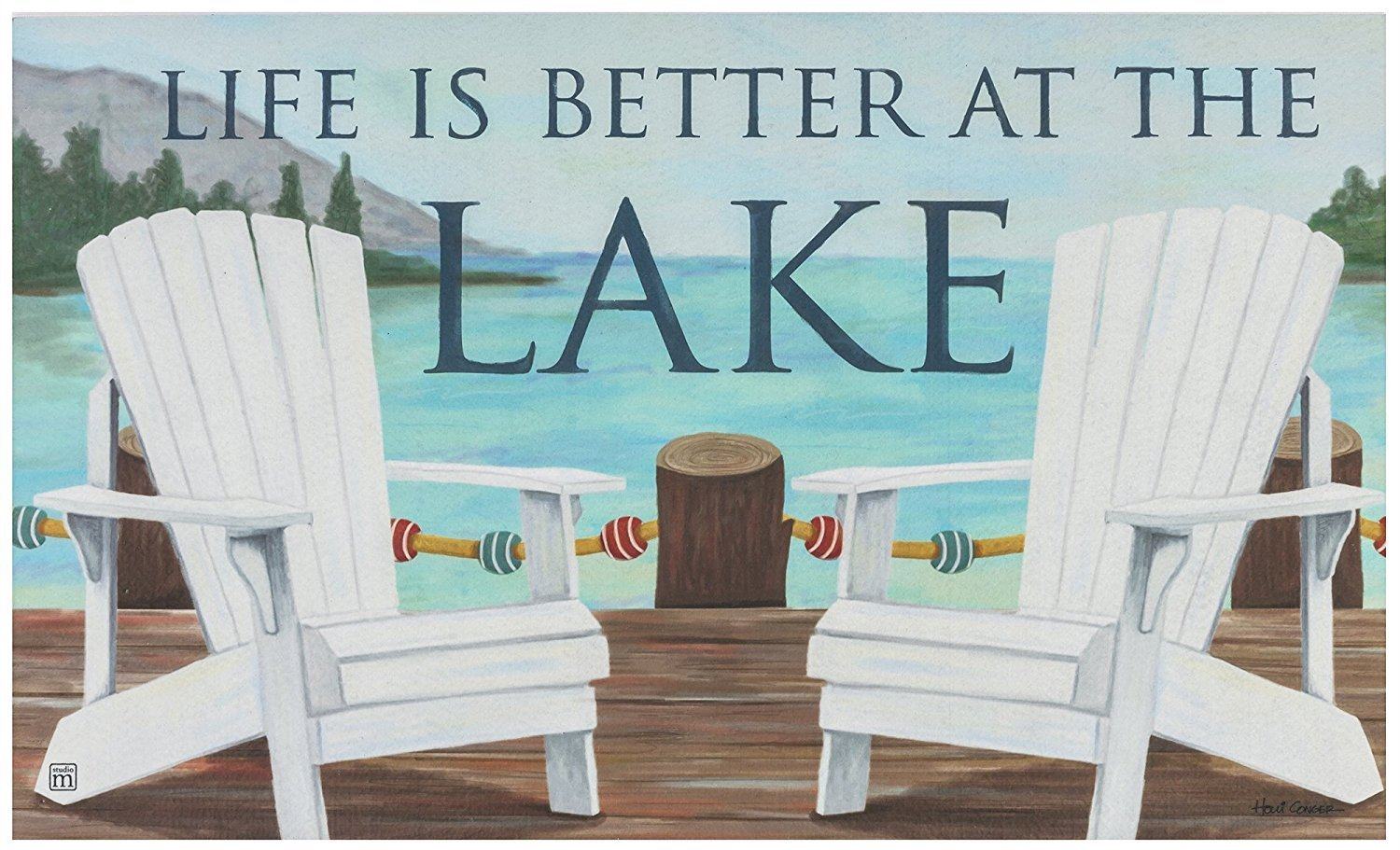 Crystal Emotion Life Is Better At The Lake,Nautical Adirondack Chair Entry  Way Home Decor Doormat