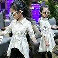 4 5 6 78 9 10 11 12 13 Anos Branco Da Menina Da Escola blusa Camisa de Manga Longa Crianças Desgaste da Mola 2017 Novas Partes Superiores Das Meninas Meisjes Blusa