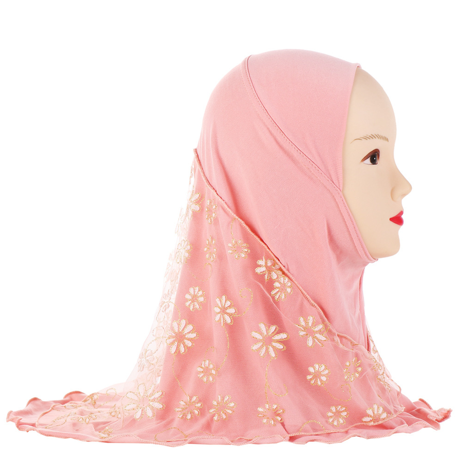 48f92922dd7 New Female Flower Muslim Children HeadScarf Hat Kids Flower Scarf Hat Turban  Arab Caps Hats Islamic