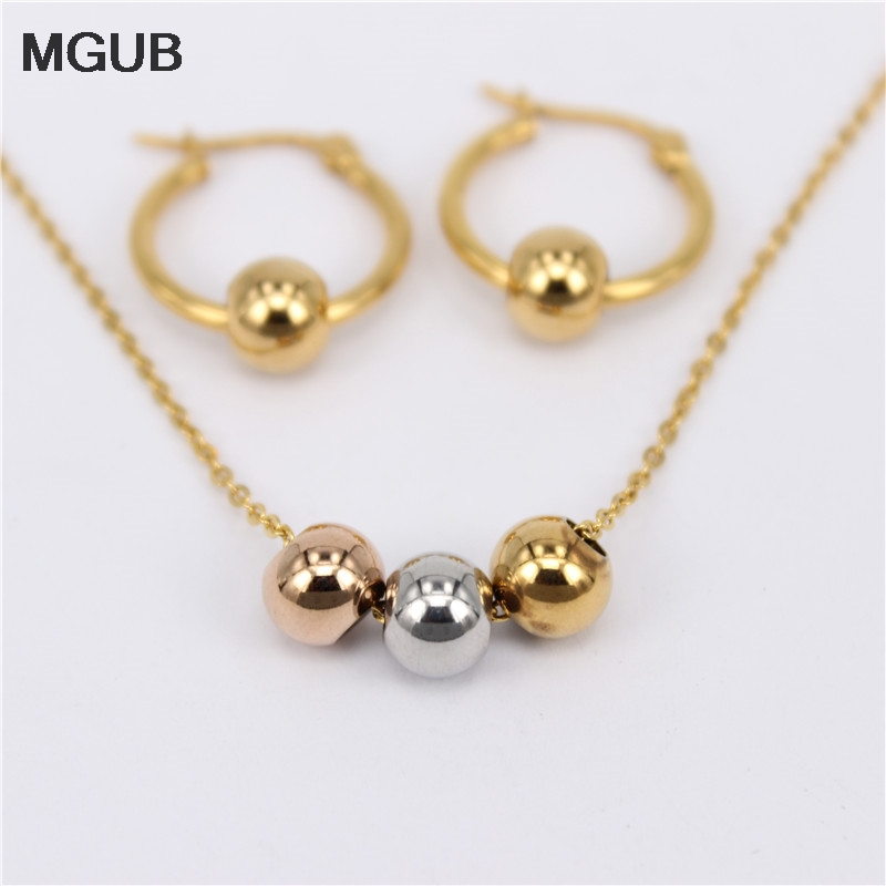 MGUB Earring size choice 10mm-70mm Activity 3 Colored Metal beads Jewelry Stainless Steel Jewelry Set (Earrings Necklace)gift