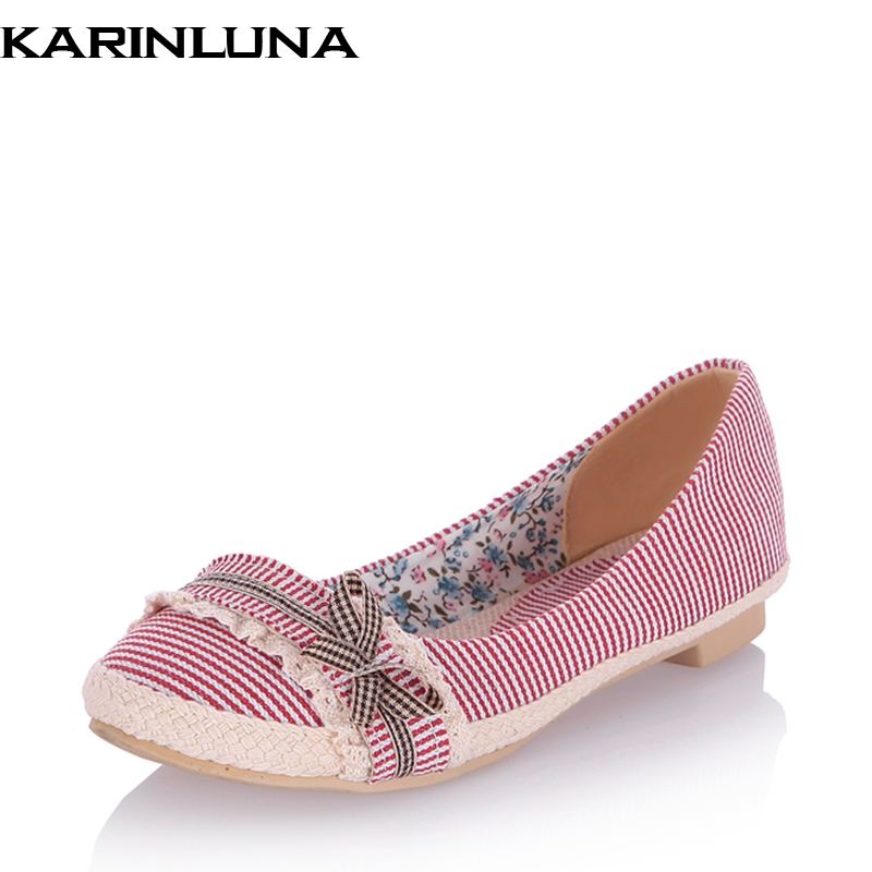 KARINLUNA Spring Autumn Sweet Plus Size 33-44 Gingham Bow Ballet Flats Shallow slip-On Casual Women Shoes lapolaka 2018 spring autumn sweet shallow women ballet flats bow beading slip on shoes woman big size 33 43 casual footwear