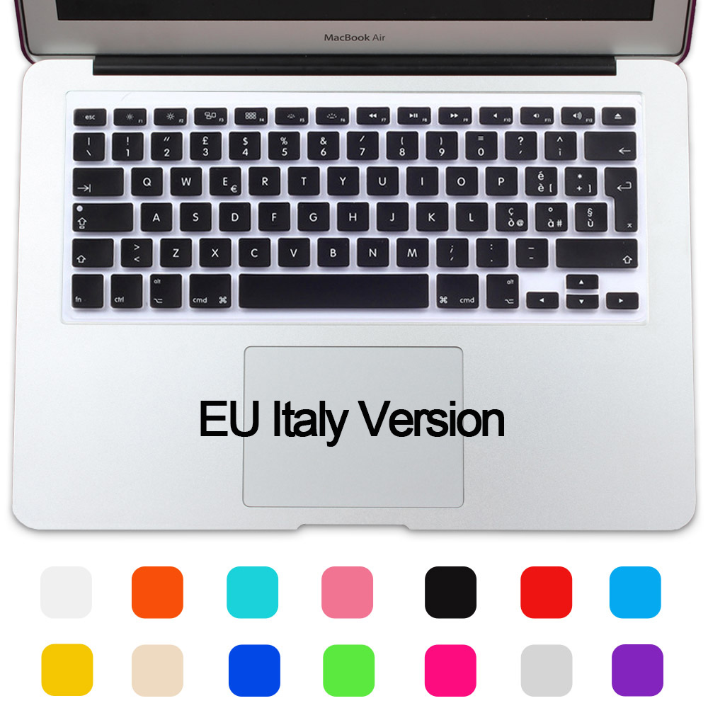 Silicone Waterproof EU/UK layout Italy Keyboard Protector Cover Skin For MacBook Air 13  ...