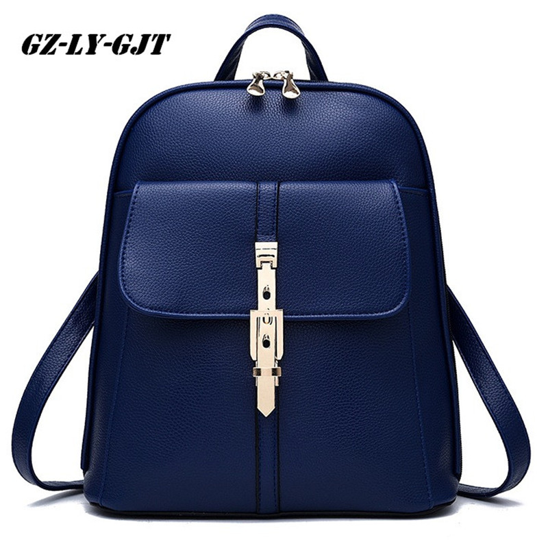 GZ-LY-GJT Fashion Women Backpack High Quality PU Leather Escolar School Bags For Teenagers Girls handle Backpacks Rivet zhierna brand women bow backpacks pu leather backpack travel casual bags high quality girls school bag for teenagers