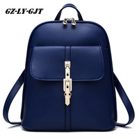 GZ LY GJT Fashion Women Backpack High Quality PU Leather Escolar School Bags For Teenagers Girls