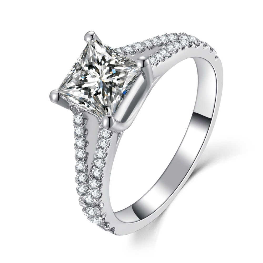 Threeman 2ct Excellent Sterling Silver White Gold Color Fancy Synthetic Diamonds  Ring Princess Women Engagement Classic