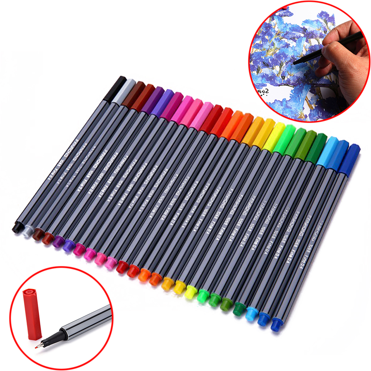 New 24 Colors 0.4mm Fineliner Pens Mayitr Color Fineliners Set Art Painting Drawing Markers Pen for Artists Crafters 250*200mm 0 4mm 24 colors art marker pen fine draw point 88 fineliner pens painting pencils children pens no tox drawing marker sketch