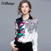 Willstage Floral Printed Silk Blouse Black And White Patchwork Shirts Long Sleeve Elegant OL Work Wear
