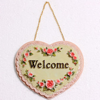 Creative Beautiful Door Sign Plate Decorative Doorplate Decoration House Plates WELCOME Sweat heart shaped Sign Hanging Plate