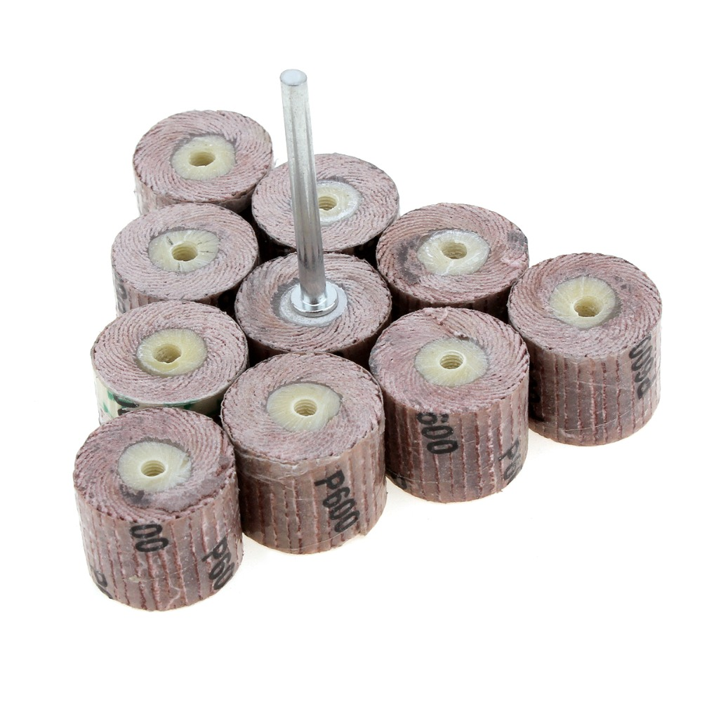 10pcs/lot 240 Grit Flap Sanding Wheel Grinding Disc With 3mm Arbor For Dremel Rotary Tool / Mini Drill
