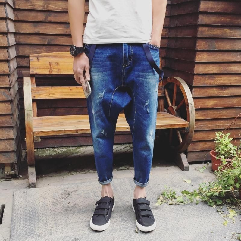 New Arrival Men's Casual Pocket Light Blue Denim Overalls Drop Crotch Casual Harem Jeans Jumpsuit HipHop Suspenders Jeans 060704