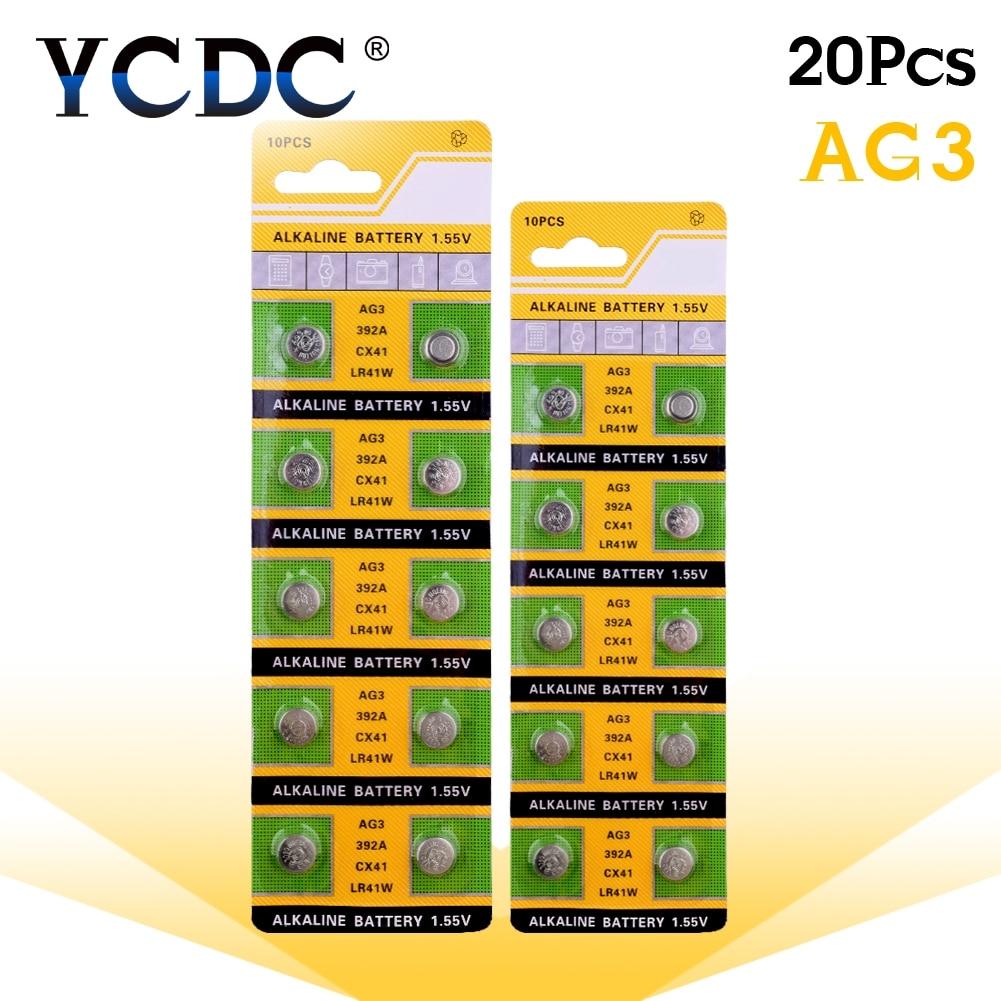 Cheap 49%off Sale 20 pcs/lot Alkaline Battery 1.55V G3 AG3 LR41 LR736 V3GA SR41 192 392 Button Cell Coin 2018 New Arrival cell batteries lr41 ag3 100 pack