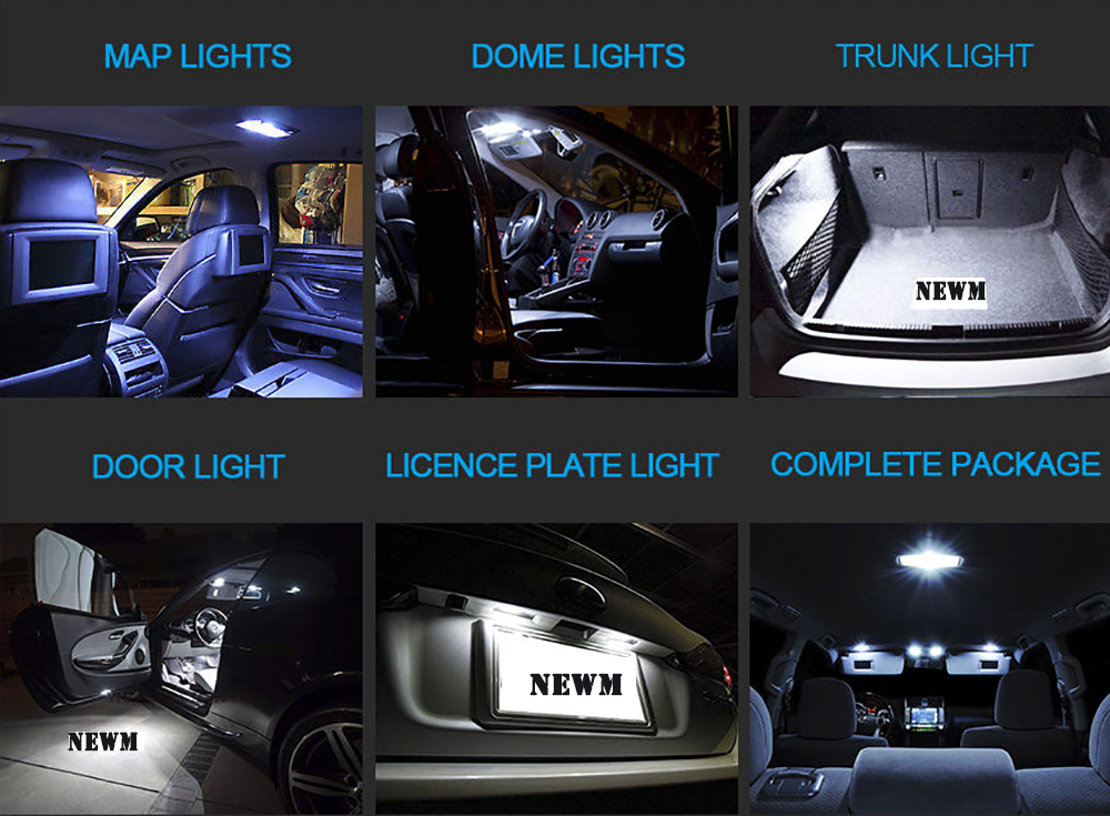 12x white LED Dome interior package kit and license plate light for Pathfinder