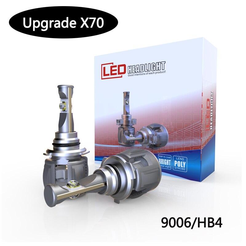Hot selling Energy saving XHP70 X70 each bulb 7800lm 60w 12V Double light lens HIR2 9012 LED headlight with 6000k white color 60w 6000k 4800lm 20 led white light bulb silver dc 30 36v