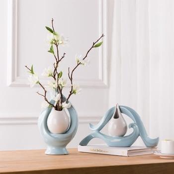 bule Creative ceramic vase TV cabinet vase home decor crafts room decoration objects porcelain figurines wedding decorations