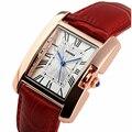 Женские часы SKMEI марка роскошные Мода Повседневная кварцевые часы кожа Леди спорта relojes mujer женщины наручные часы Платье Девушки 1085