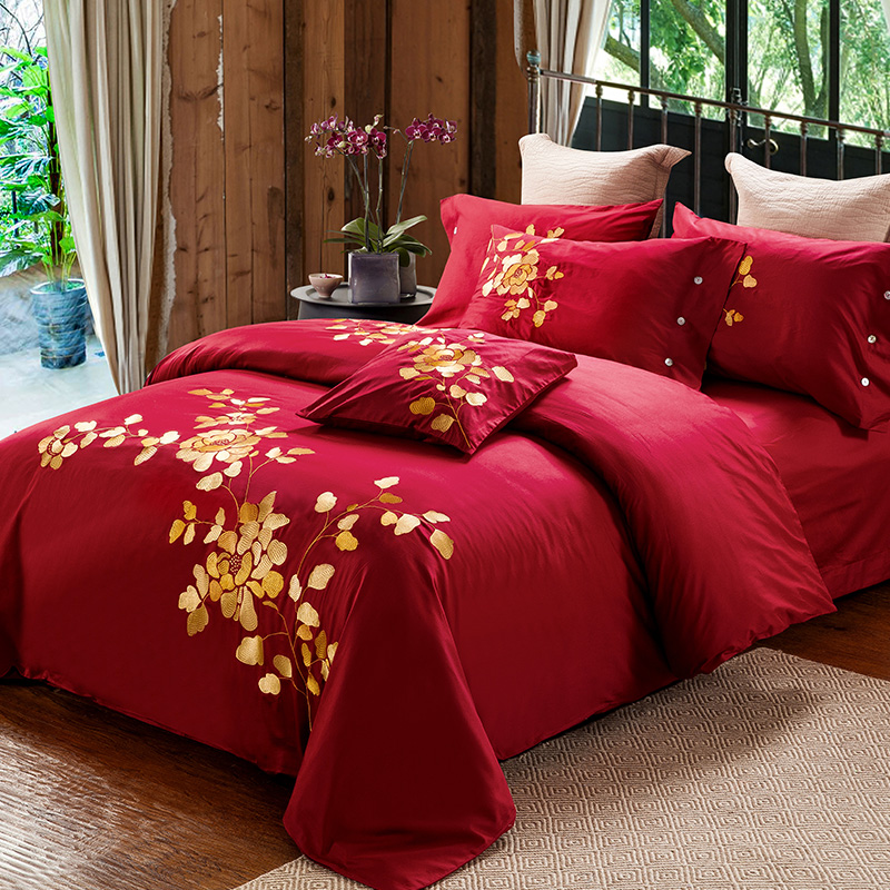 wedding red new arrival luxury 60s cotton embroidery bedding set queen king size duvet cover set