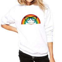 Top Brand Casual Women Sweatshirt White Girls Sweatshirts Rainbow Printed Womans Aesthetic Pullover Cotton Fashion Clothing