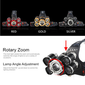Image 3 - Zoom High Power Flashlight Headlight T6 LED Front Head Light Lamp 18650 Rechargeable Headlamp for Hunting and Fishing