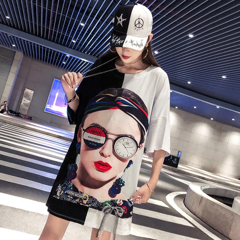 New 2019 Fashion Loose Summer Women Dresses Funny Black And White Patchwork Straight Long T Shirts Dress Hip Hop Streetwear in Dresses from Women 39 s Clothing