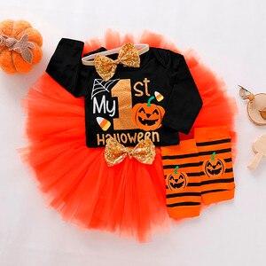Nowy śliczne nowonarodzone dziecko księżniczka ubrania dla dzieci dziewczynek Halloween list Romper Tulle spódnice opaska do włosów ocieplacz na nogi stroje 4 sztuk zestaw