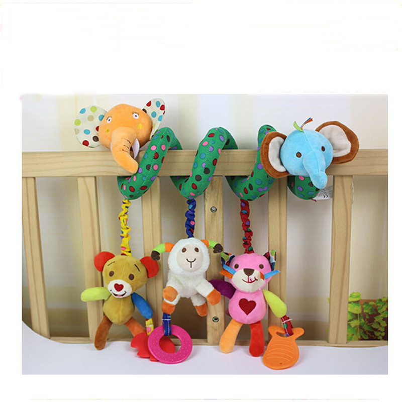 Baby Bed Rammelaar Baby Speelgoed Ring Geluid Activiteit Spiraal Bed Kinderwagen Speelgoed Dubbele Hoofd Leeuw Olifant Opknoping Bel Wieg Rammelaar speelgoed 4