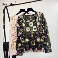 RealShe Women Embroidery T Shirt Ladies Fashion Floral Beading Sweet Sequins Tops Casual Ladies Long Sleeve