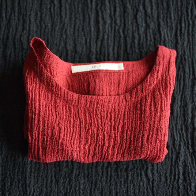 LYNETTE'S CHINOISERIE Mulheres Verão Plus Size Solto Tanque Sem Mangas de Linho Plissado Vermelho Top