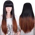 Qualidade Disponível Ombre Resistente Ao Calor Peruca Cheia Barato Feminino Elegante Longo Natural Reta Peruca Sintética Natural Nenhum Lace Wigs