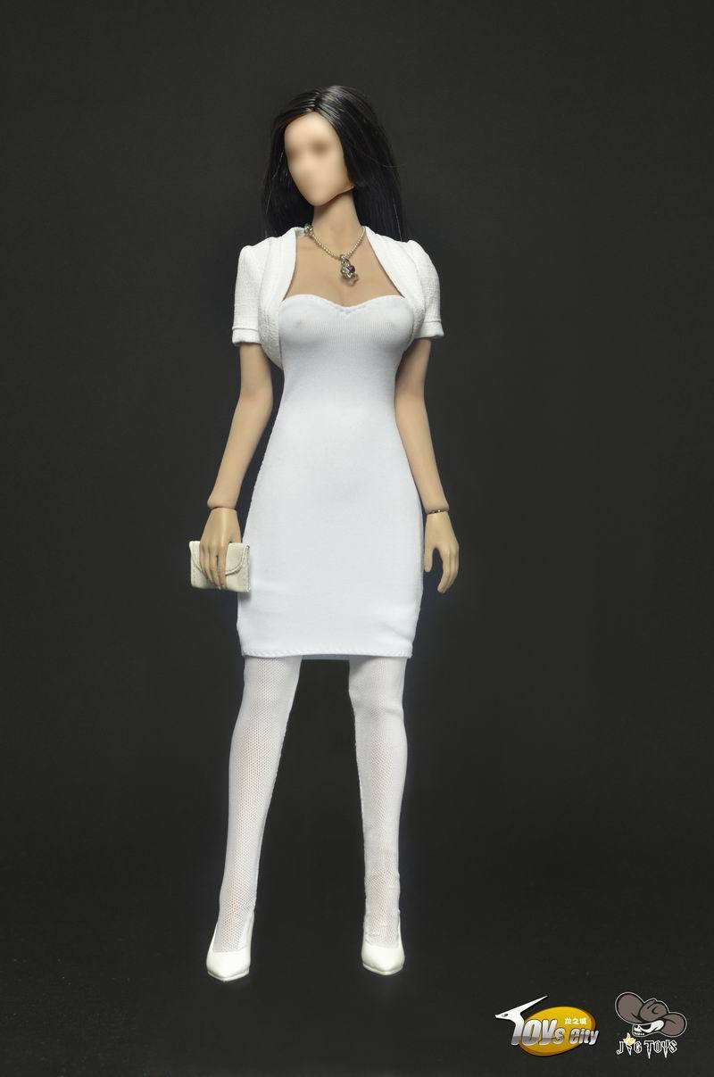 Lady 1/6 Female Clothing Model Toys White Dress Set For 12 Female Action Figures Body Accessory 1 6 purple female sexy leather skirt dress suit clothing model toys for 12 female action figures body accessory