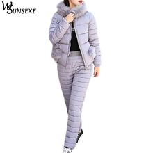 Winter Warm 2 Piece Sets Solid Color Jacket Suits Women Fur Hooded Zipper Cotton Padded Coat Parka and Long Pants New Outerwear цена 2017