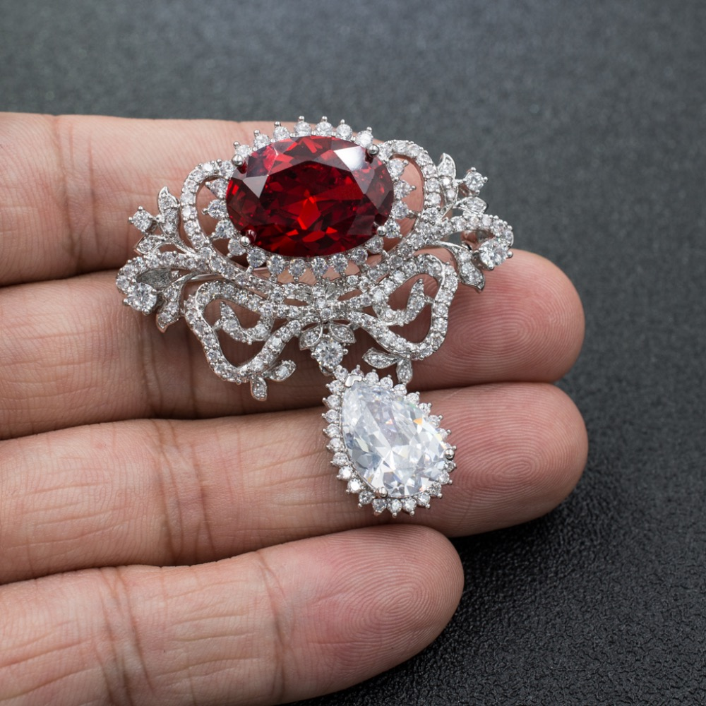 5A Cubic Zirconia Red Oval Dangle Brooch Broach Pin High Quality Women Jewelry Dress Accessories B0080RED