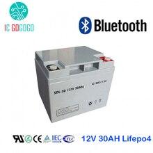 Lifepo4 batería recargable de fosfato de hierro y litio de 12V y 30Ah, célula recargable con Bluetooth, BMS, 4S personalizado, AKKU