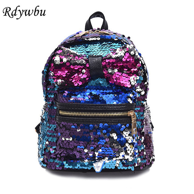 Rdywbu Glitter Sequins Backpack Women's Fashion Big Bow PU Leather ...