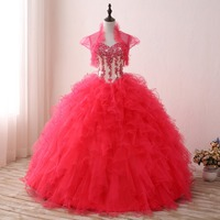Mingli Tengda Handmade Beading Quinceanera Dress Luxurious Ball Gown Red Sweetheart Princess Sweet 16 Dresses with Short Jakcet