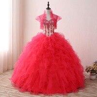 Mingli Tengda Handmade Beading Quinceanera Dress Luxurious Ball Gown Red Sweetheart Princess Sweet 16 Dresses with Short Jakcet