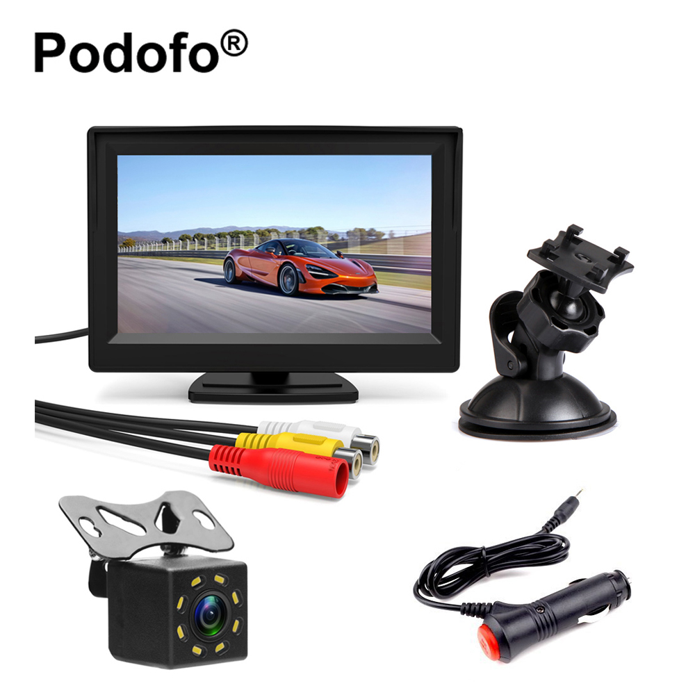 Podofo Car Rear View Monitor Waterproof 8 IR NIght Visions Backup Reverse Camera Wired 5 Inch LCD TFT Parking System Car-Styling podofo 5 inch car monitor tft lcd color screen 2 video inputs 2 brackets for rear view backup reverse camera dvd car styling