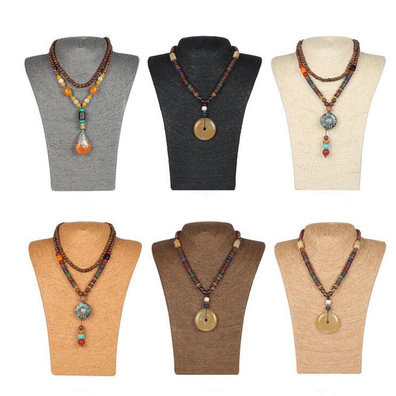 HOT Selling Hemp Rope Handcraft Jewelry Stand Necklace Pendant Holder Rack Chest Model Jewelry Display Mannequin Cord Bust Shelf