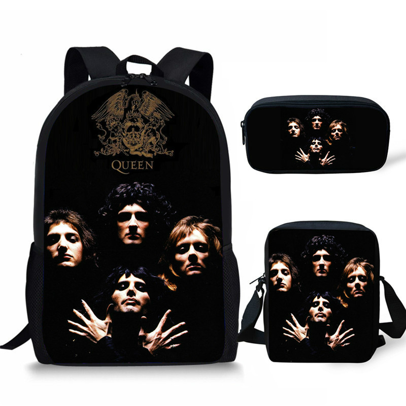 THIKIN 3Pcs/set Students Bookbag Queen Band Bohemian Rhapsody Printing Kids Custom Children School Bags Large Shoulder Backpack