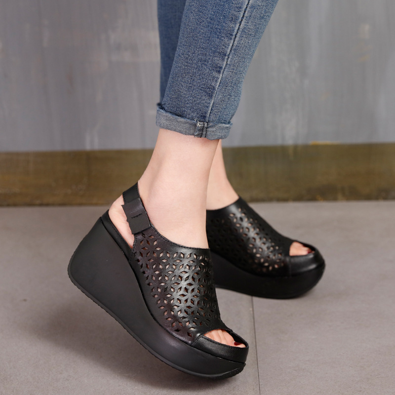 Genuine Leather Sandals Women Summer Shoes Retro Hollow Out 7 CM High Heels Wedge Set Foot Women Leather Sandals 2019Genuine Leather Sandals Women Summer Shoes Retro Hollow Out 7 CM High Heels Wedge Set Foot Women Leather Sandals 2019