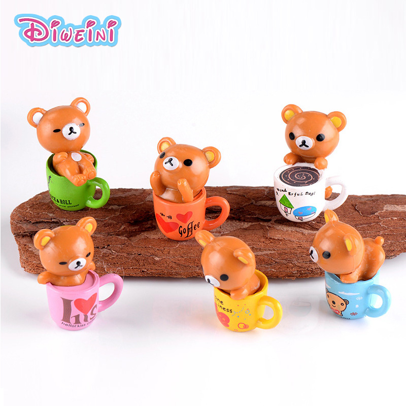 Animal Figurine Miniature Pvc-Craft Boy Toys Model Cartoon Bear Coffee-Cup Raccoon Home-Decoration
