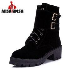Senhoras Flats Mid-Calf Botas Mulheres Metade Curto Botas Outono Inverno Bota Fivela Calçados Moda Feminina Sapatos Tamanho 34 -43