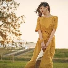 INMAN bir çizgi yarım kollu kadın orta buzağı elbise yaz zarif bayan elbise kadın kız rahat uzun elbise