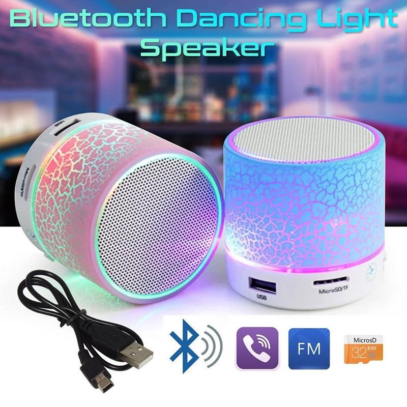 GETIHU Bluetooth Speaker Led Portable Mini Wireless Speaker Player USB Radio Fm Mp3 Music Sound Colum for PC Mobile phone
