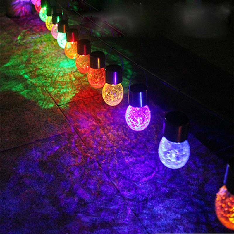 New LED Solar Energy String Light Rattan Ball Crackle Outdoor Garden Courtyard Lawn Cottage Festival Holiday Decoration Lights