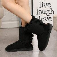 Новые Элегантные Брендовые женские зимние ботинки с двойным бантом; Замшевые женские ботинки из овечьей кожи с шерстяной подкладкой; Утепл
